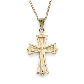 Sterling Silver & Gold-plated Dia. & Emerald 18in Cross Necklace