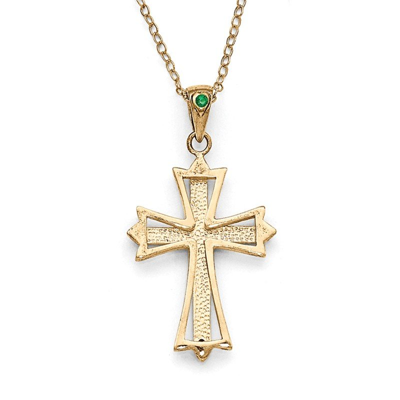 Quality Gold SS Diamond Mystique Gold-plated Dia/Emerald 18in Cross Necklace