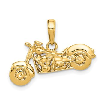 14K Gold Polished / Textured 3-D Motorcycle Pendant