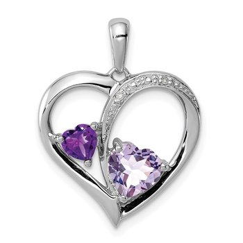 Sterling Silver Rhodium Diamond/Amethyst/Rose de France Heart Pendant