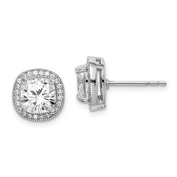 Sterling Silver Rhodium-plated 7mm CZ Halo Post Earrings