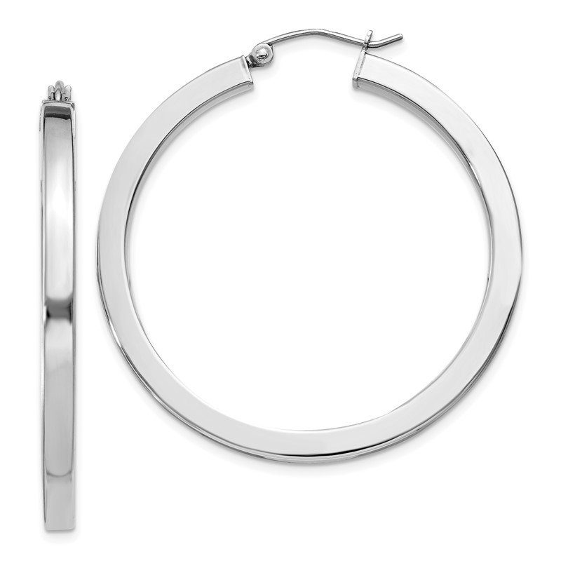 J.F. Kruse Signature Collection Sterling Silver Rhodium-plated 3x40mm Square Tube Hoop Earrings