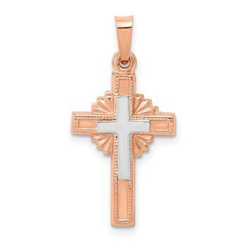 14k Two-tone Textured Hollow Cross Pendant