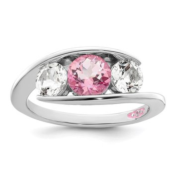 Sterling Silver Survivor Collection Clear/Pink Swarovski Topaz Journey Ring