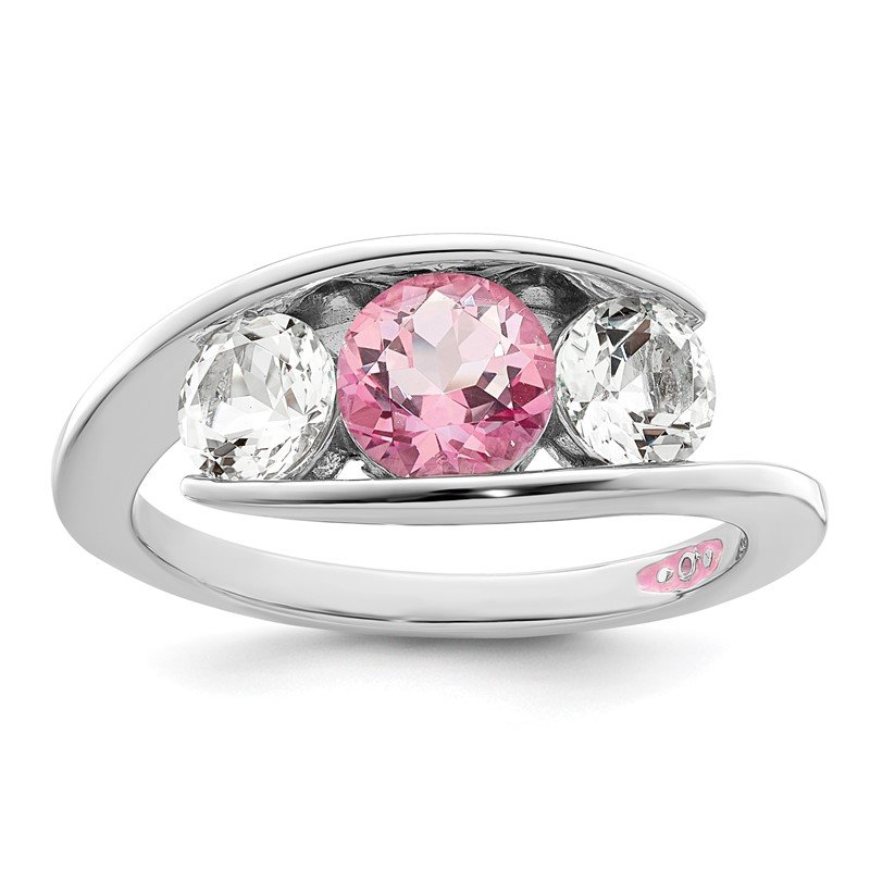 Quality Gold Sterling Silver Survivor Collection Clear/Pink Swarovski Topaz Journey Ring