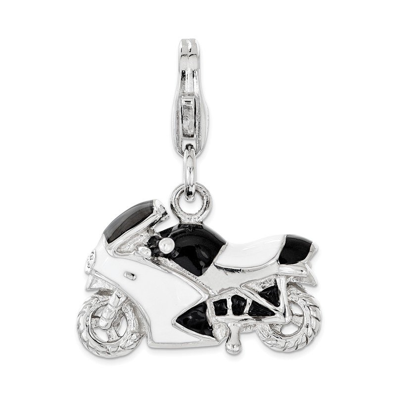 Quality Gold Sterling Silver Enameled w/Swarovski 3D Motorcycle Lobster Clasp Charm