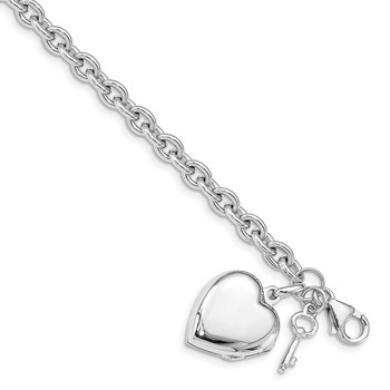 Sterling Silver Rhodium-plated Puffed Heart Locket Bracelet