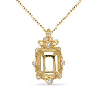 Yellow Gold Diamond Pendant 9x7EC Center