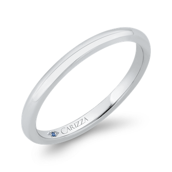 18K White Gold Plain Wedding Band with Round Shank