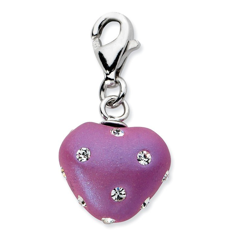 Quality Gold Sterling Silver RH Click-on Purple Ferido & Stellux Crystal Heart Charm