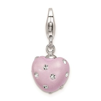 Sterling Silver RH Click-on Purple Ferido & Stellux Crystal Heart Charm
