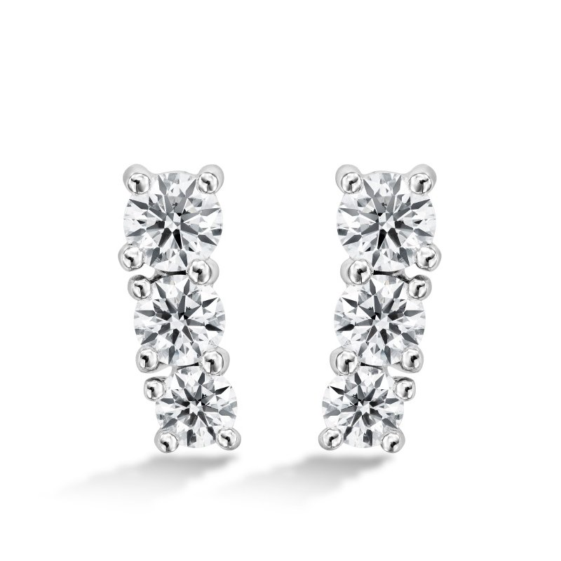 Hearts on Fire 1.21 ctw. Cascade Earring Climber 3 Stone