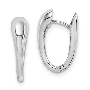 14K White Gold Polished Hinged Hoop Earrings