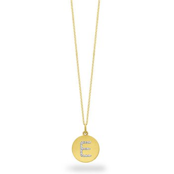 "Diamond Disc Initial ""E"" Necklace in 14k Yellow Gold with 15 Diamonds weighing .08ct tw."