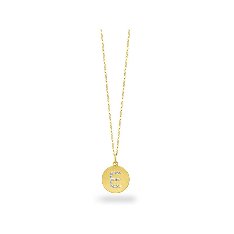 "KC Designs Diamond Disc Initial ""E"" Necklace in 14k Yellow Gold with 15 Diamonds weighing .08ct tw."