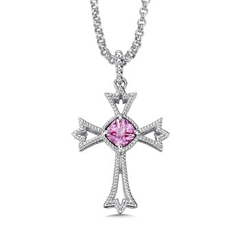 Sterling silver and created pink sapphire cross pendant