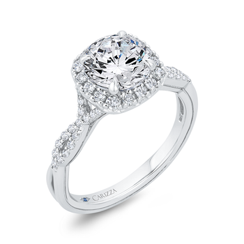 18K White Gold Split Shank Round Diamond Halo Engagement Ring (Semi-Mount)