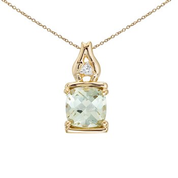 14K Yellow Gold Green Amethyst and Diamond Pendant