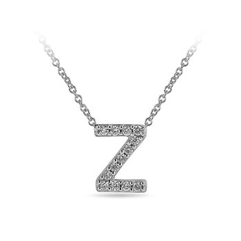 "10K WG and diamond block letters alphabet Z ""chain-sliding"" pendant in prong setting"