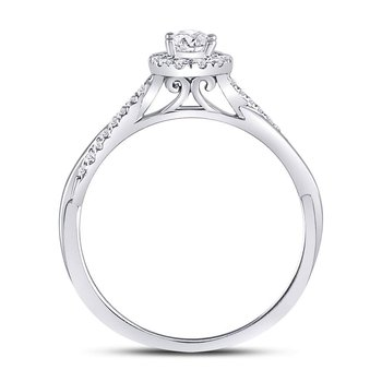 14kt White Gold Womens Oval Diamond Solitaire Bridal Wedding Engagement Ring 1/3 Cttw