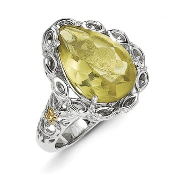 Sterling Silver w/14k Lemon Quartz Ring