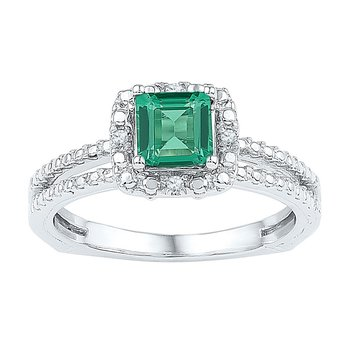Sterling Silver Womens Cushion Lab-Created Emerald Solitaire Ring 3/4 Cttw