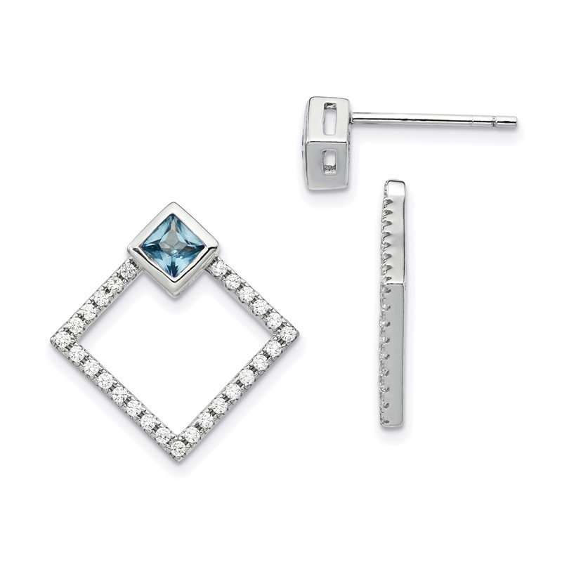 Fine Jewelry by JBD Sterling Silver RH-plated CZ Jackets w/5mm Square Spinel Earrings