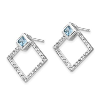 Sterling Silver RH-plated CZ Jackets w/5mm Square Spinel Earrings