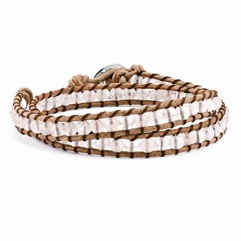 6mm Rose Quartz Beads Leather Cord Multi Wrap Bracelet