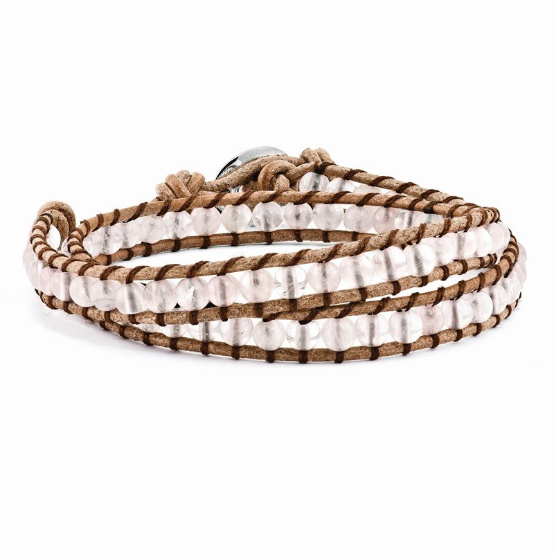 Quality Gold 6mm Rose Quartz Beads Leather Cord Multi Wrap Bracelet