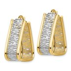 Quality Gold 14k & Rhodium Polished & Diamond Cut Triangle Hoop Earrings