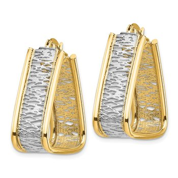 14k & Rhodium Polished & Diamond Cut Triangle Hoop Earrings