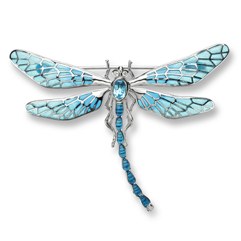 Sterling Silver Dragonfly Brooch-Blue.  Diamonds, Blue Topaz.