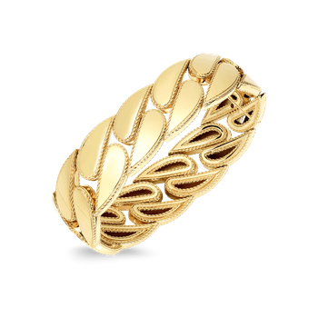 18Kt Gold Gourmette Link Bangle