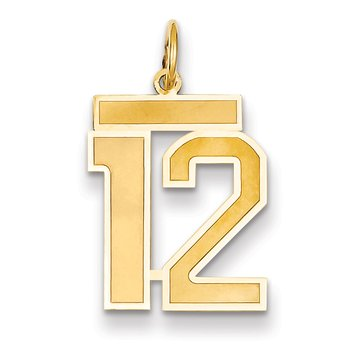 14k Medium Satin Number 12 Charm