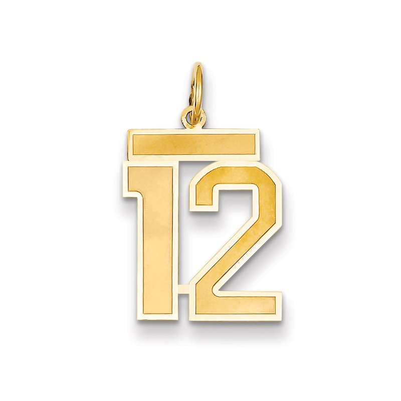 Quality Gold 14k Medium Satin Number 12 Charm