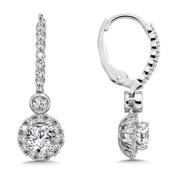 Diamond Halo Drop Earrings in 14K White Gold with Platinum Post (1ct. tw.)