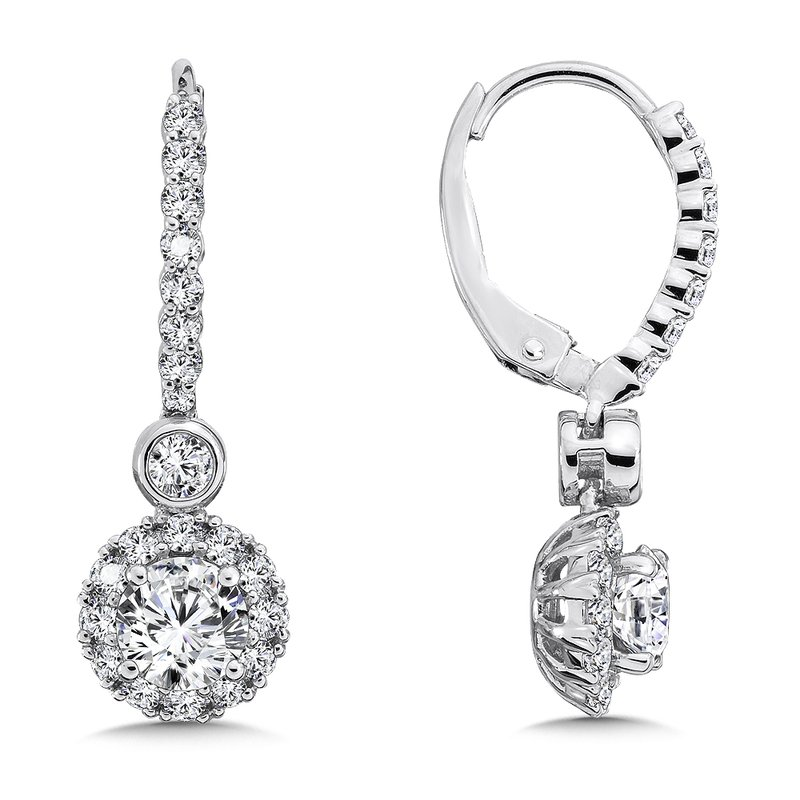Caro74 Diamond Halo Drop Earrings in 14K White Gold with Platinum Post (1ct. tw.)