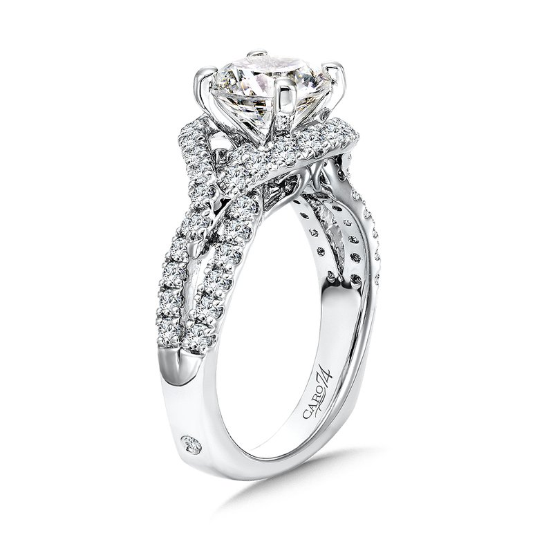 Caro74 Grand Opulance Collection Diamond Criss Cross Engagement Ring in 14K White Gold with Platinum Head (2ct. tw.)