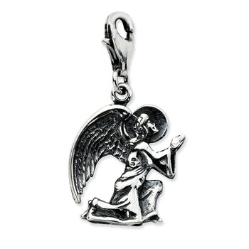 Sterling Silver Amore La Vita Rhodium-pl Antique Kneeling Angel Charm