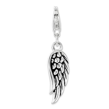 Sterling Silver Polished and Oxidized 3D Wing Lobster Clasp Charm