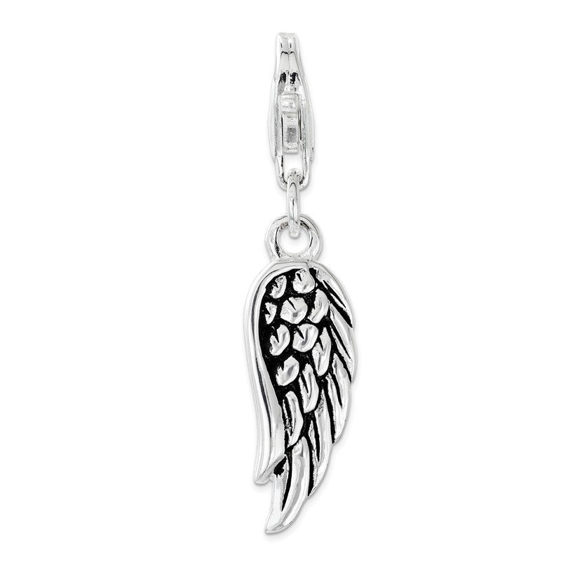Quality Gold Sterling Silver Amore La Vita Rhodium-plated and Antiqued 3D Wing Charm