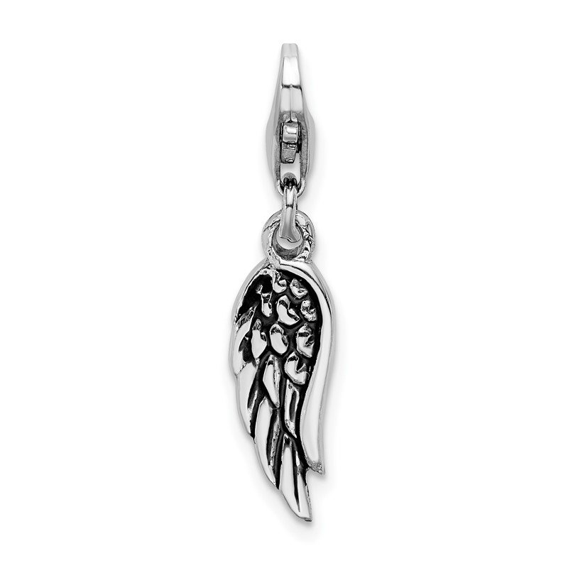 Quality Gold Sterling Silver Polished and Oxidized 3D Wing Lobster Clasp Charm