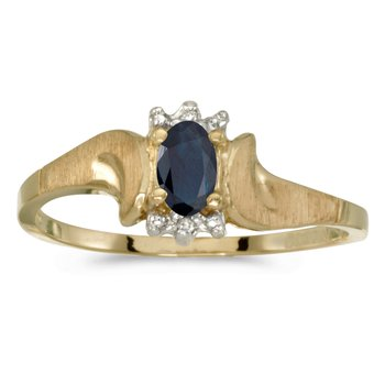 10k Yellow Gold Oval Sapphire And Diamond Satin Finish Ring