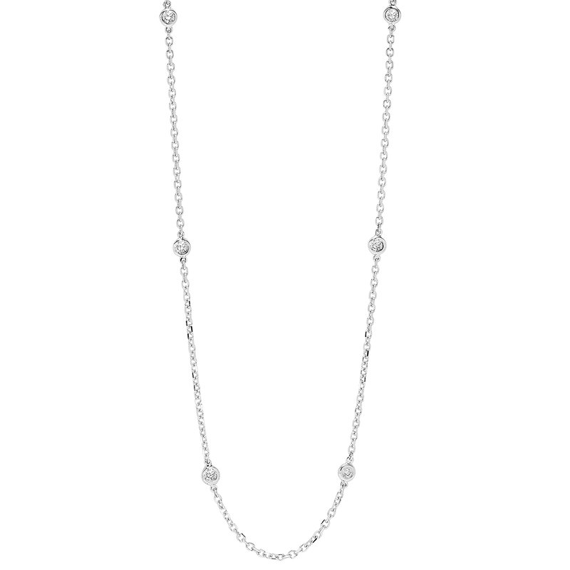 Gems One Diamond Station Necklace in 14k White Gold (1 1/2ctw)