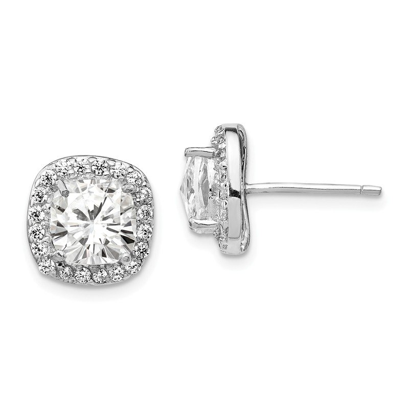 Cheryl M Cheryl M Sterling Silver Rose-cut CZ Square Post Earrings