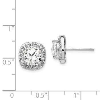 Cheryl M Sterling Silver Rose-cut CZ Square Post Earrings