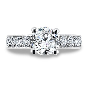 Diamond Engagement Ring Mounting in 14K White Gold with Platinum Head (.79 ct. tw.)