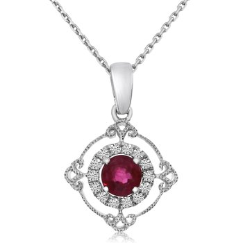 14k White Gold Ruby and Diamond Filigree Pendant