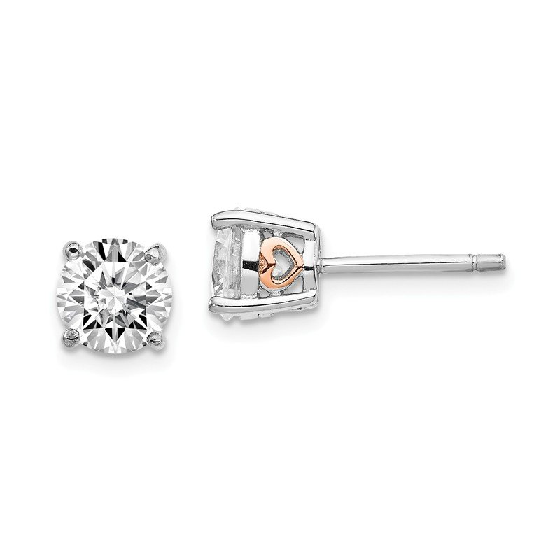 Cheryl M Cheryl M Sterling Silver & Rose Gold-plated Heart 6.5mm CZ Stud Earrings